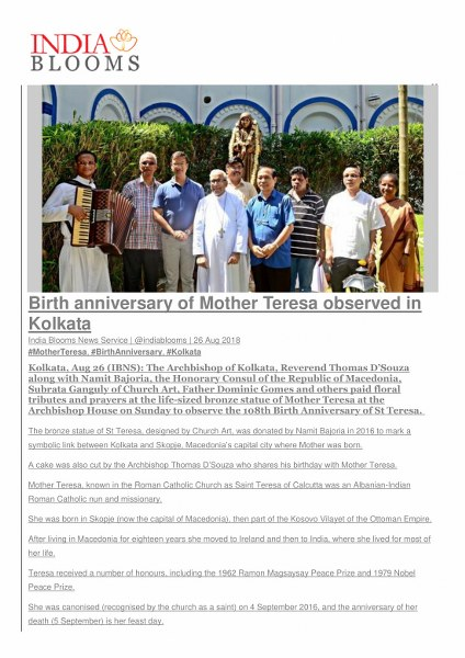Birth anniversary of Mother Teresa observed in Kol
