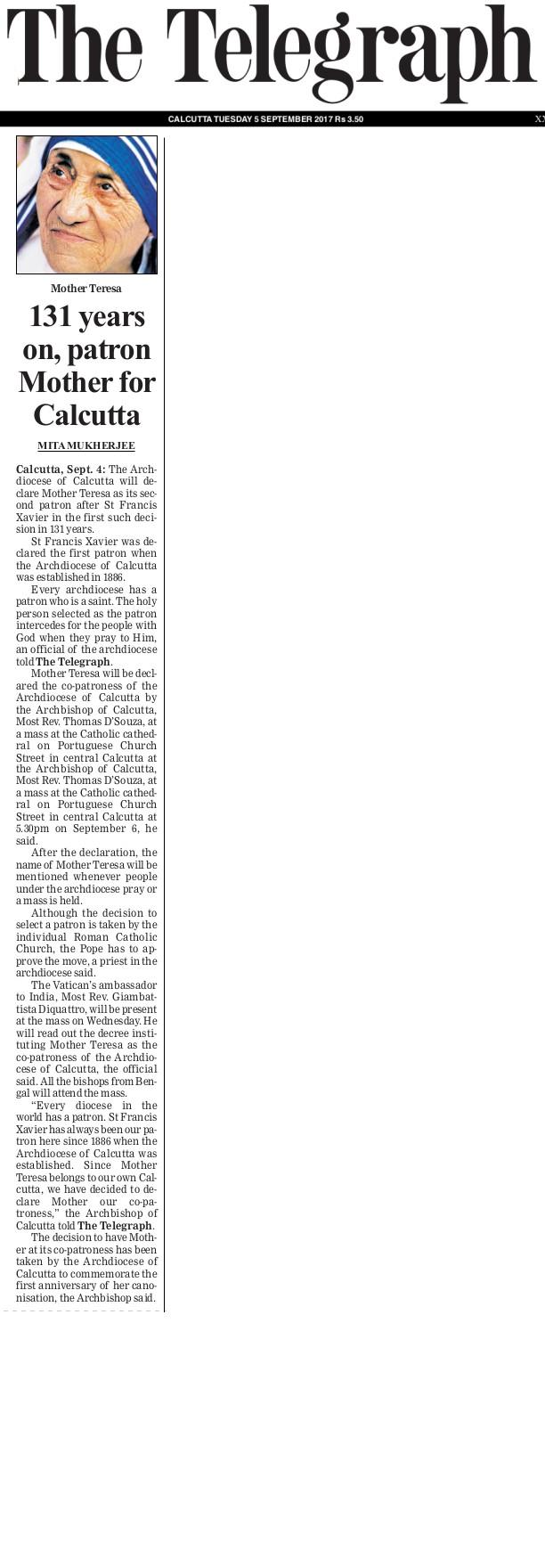 5 Sept 2017 The Telegraph Pg1
