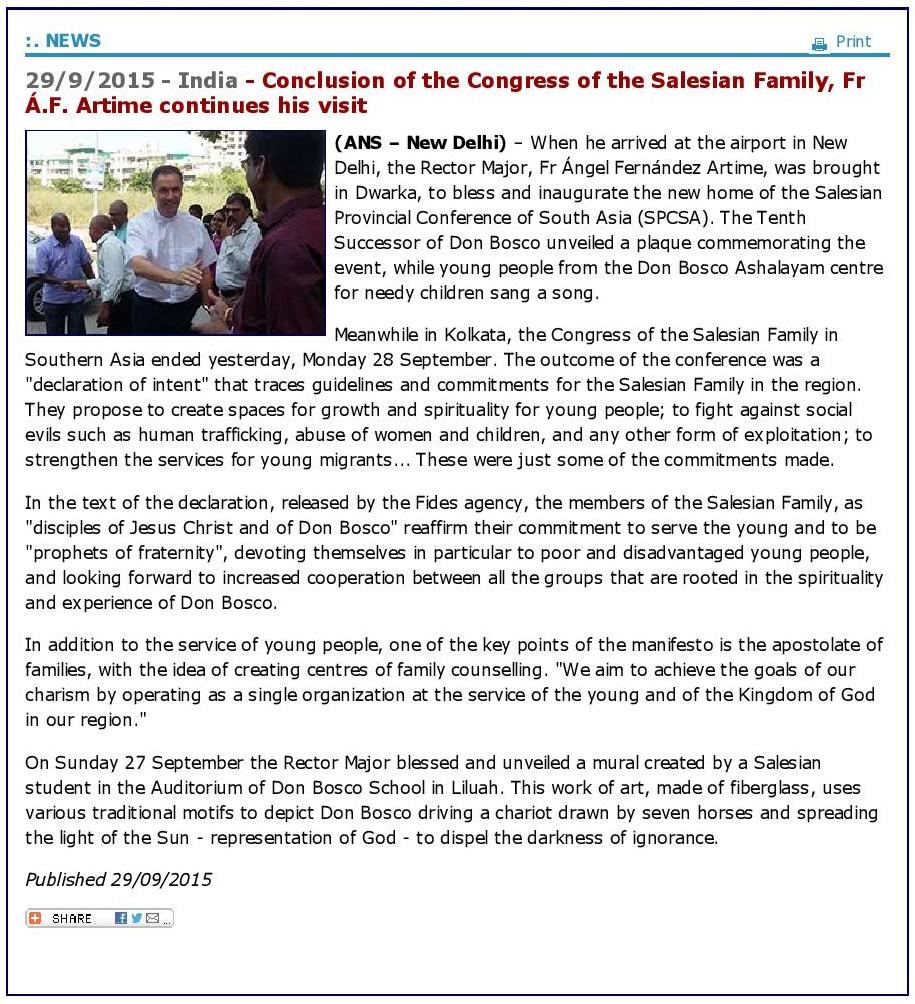 Conclusion of the Congress of the Salesian Family