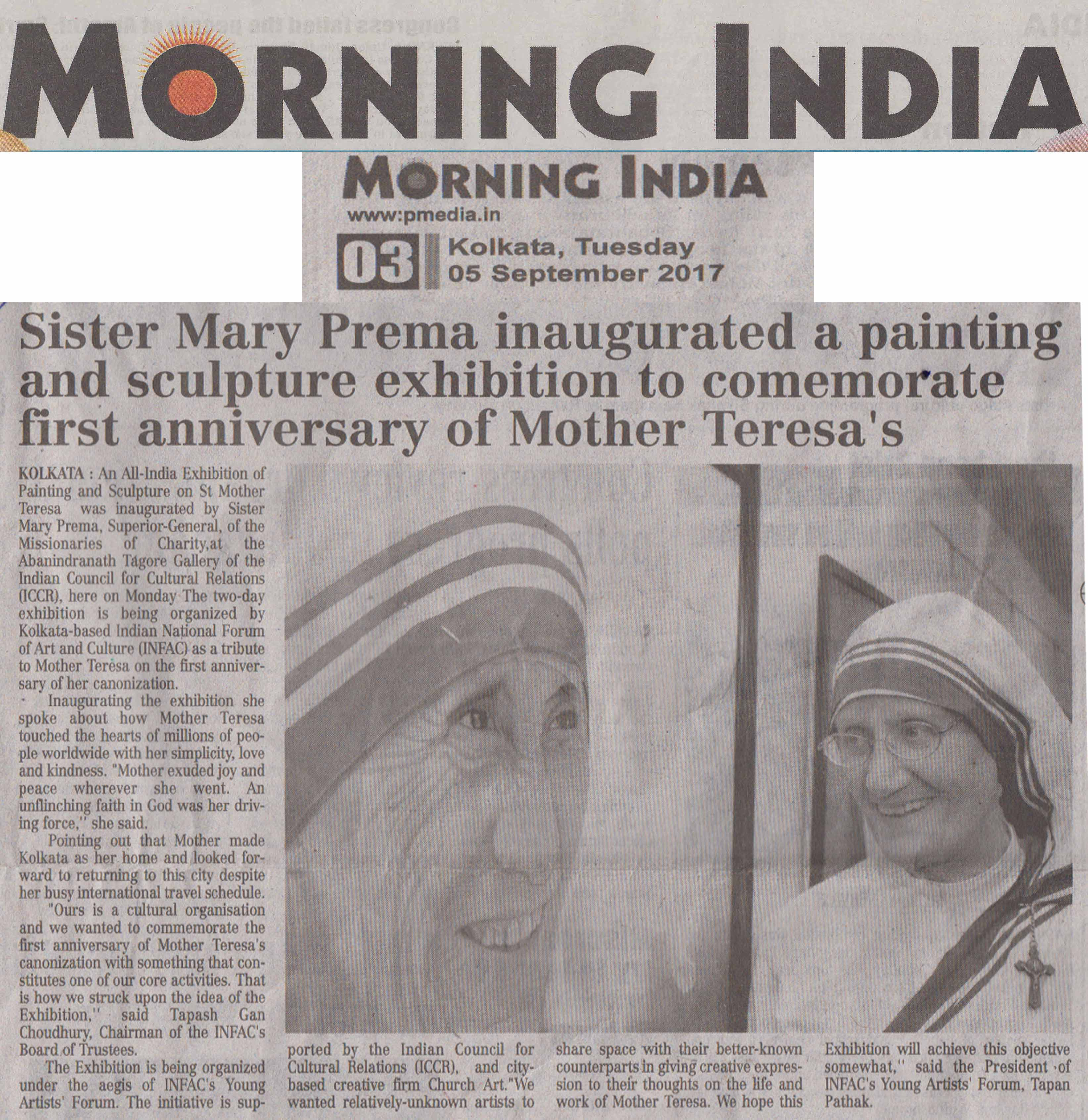 Mother Teresa, Morning India, Page-3, Date-05.09.2